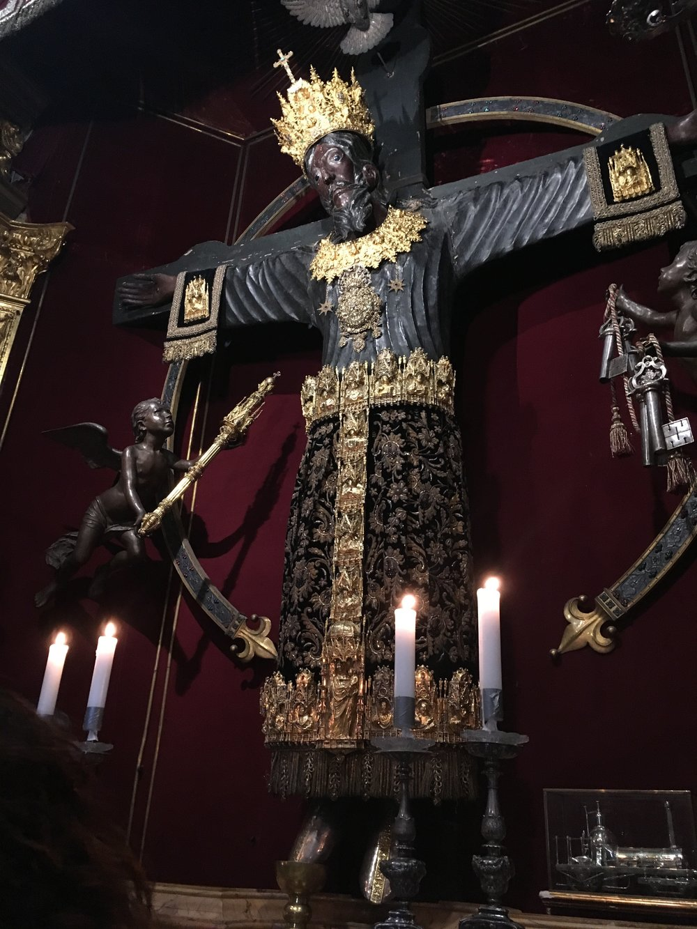 The Volto Santo crucifix, clad in gold vestements for the Santa Croce Festival, Lucca, Italy.