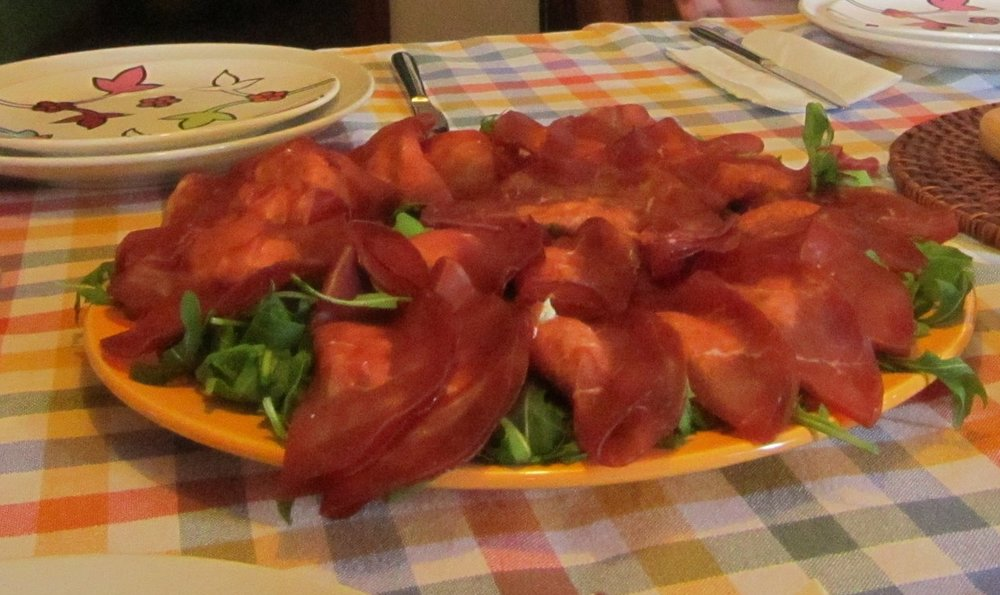 Bresaola filled with ricotta and mint ( Lucca Italian School, Speak and Cook Italian class)