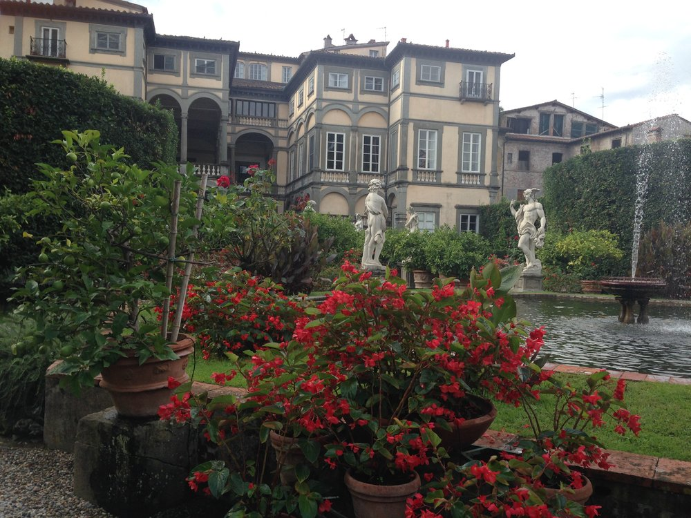 Palazzo Pfanner and its garden, in summer.