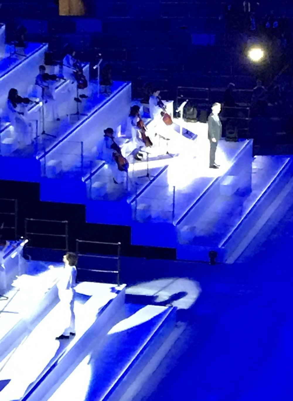 Andrea Bocelli was the special guest for the show (he can be seen at the top of the photo in the black suit).