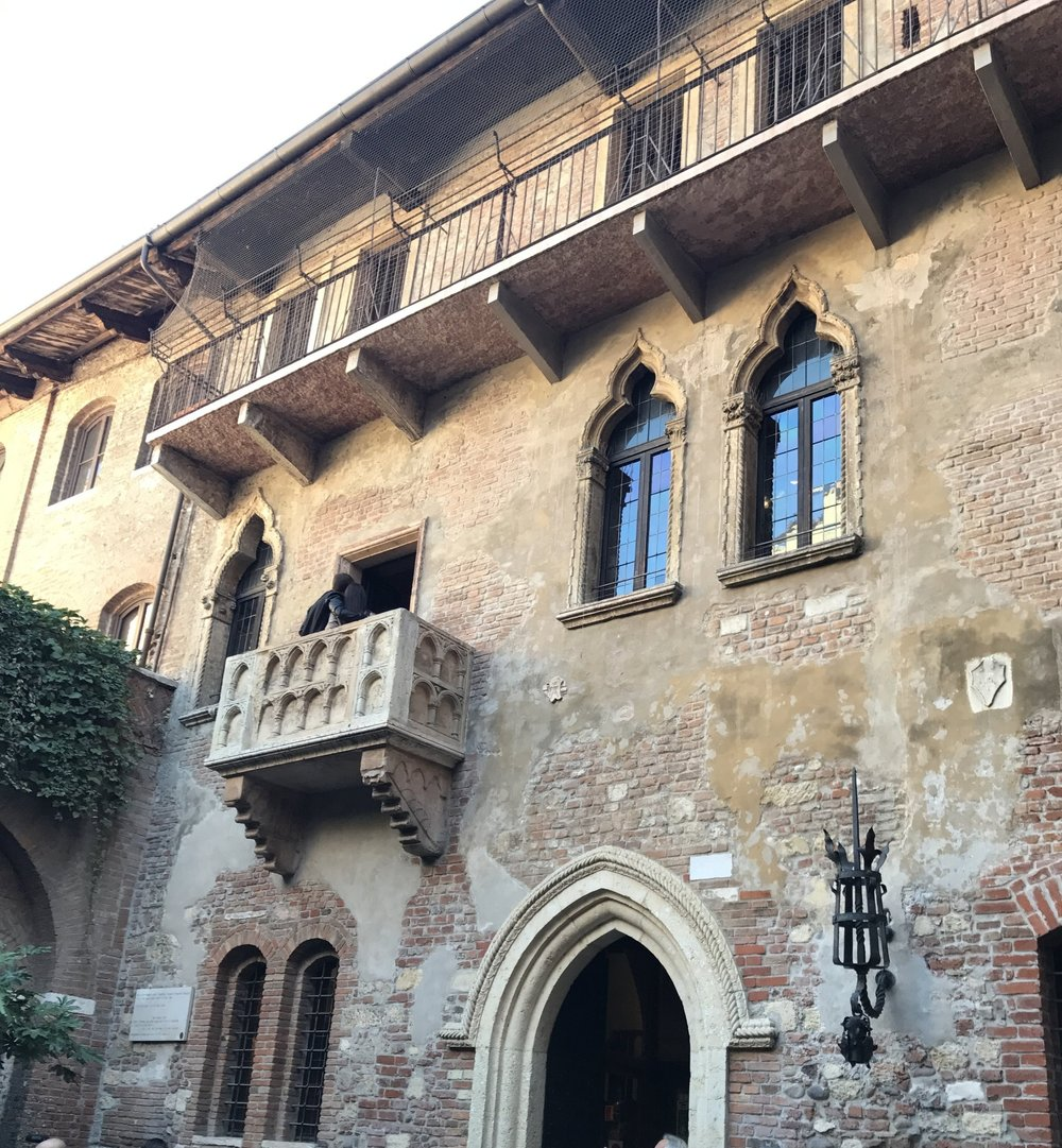 Juliet's balcony (which is actually a Maltese-type balcony) in Verona.