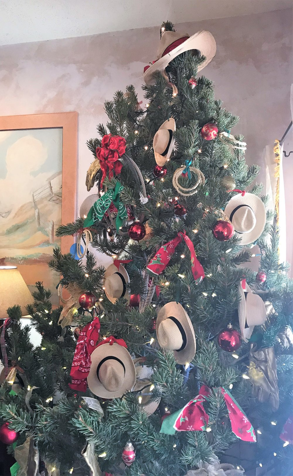 A Western style Christmas tree at the Sierra Grande Lodge in Truth or Consequences, New Mexico. Mini cowboy hats, lariats and handkerchiefs decorate the tree. The lodge is owned by Ted Turner Expeditions.