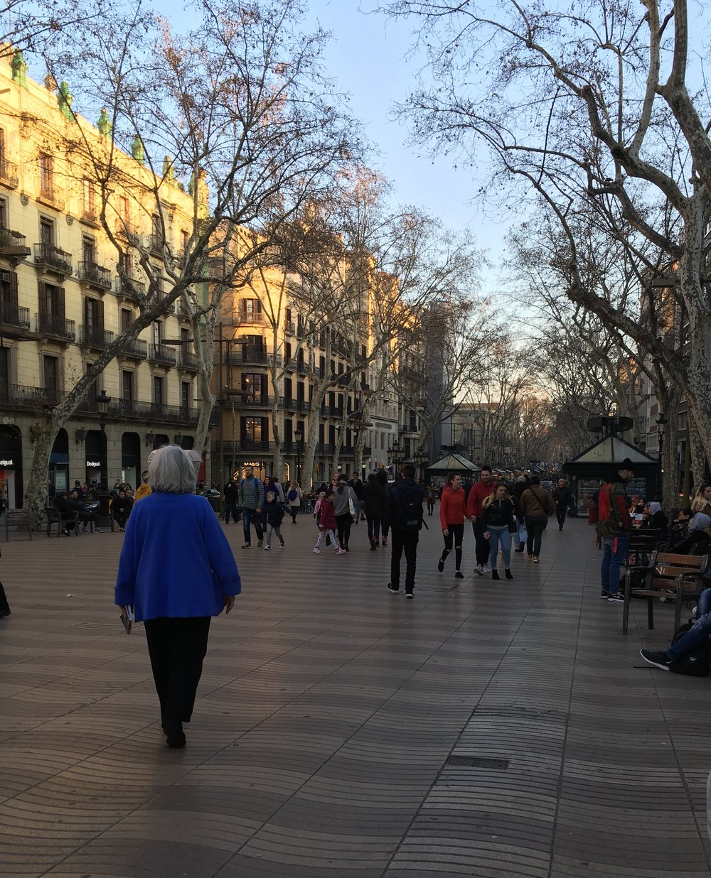 Strolling La Rambla (that's my friend Martha in the blue coat)