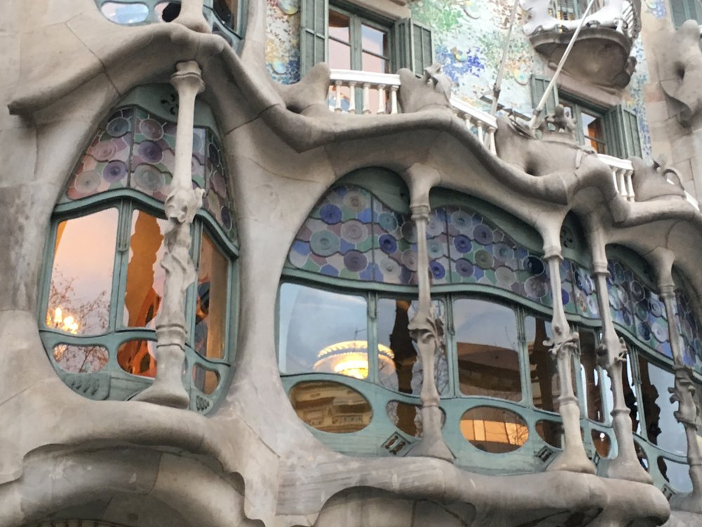 The facade of one of Gaudi's famous buildings in Barcelona