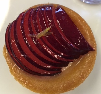 "A ""two-bite"" plum tart from the bakery in the World Cafe aboard the Viking Star"