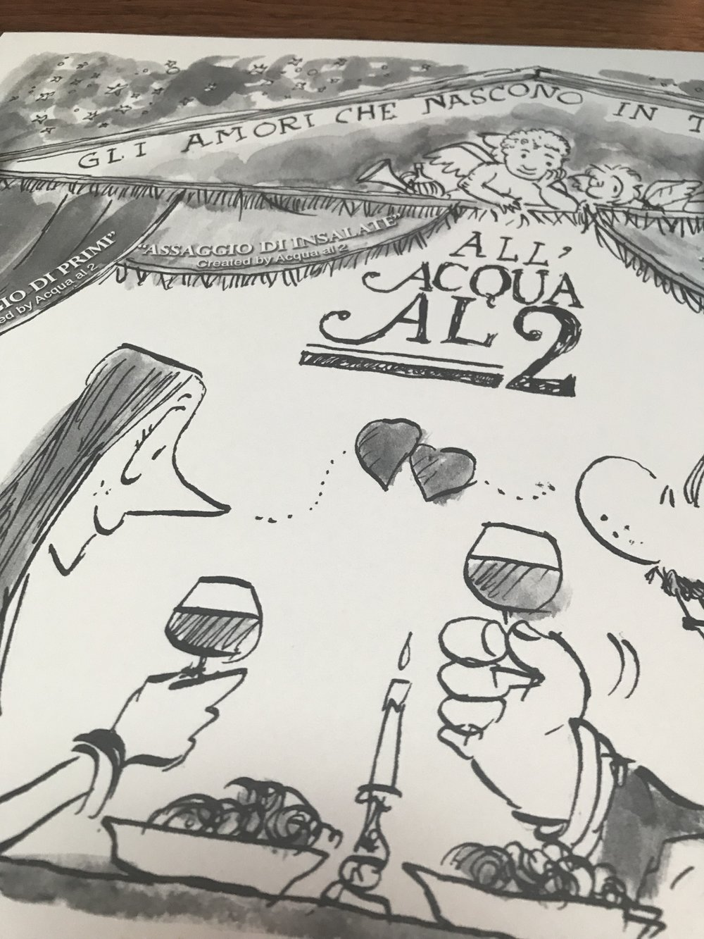 A placemat at Acqua al 2