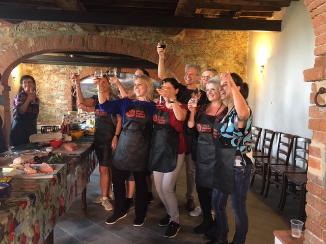 A cooking class in the old cantina, Fattoria di Fubbiano