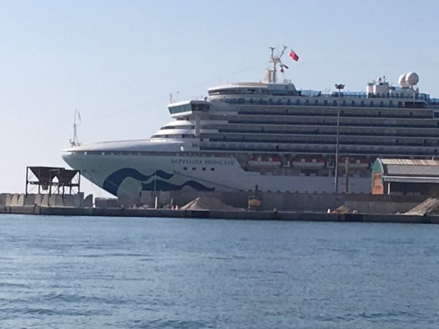 One of many large cruise ships in the harbor