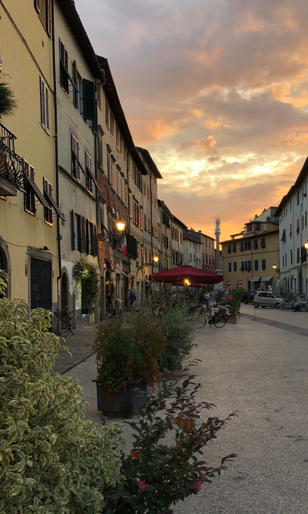 A perfect mid-September evening in Piazza San Francesco, Lucca. Photo by Jim Carnevale, used with permission.