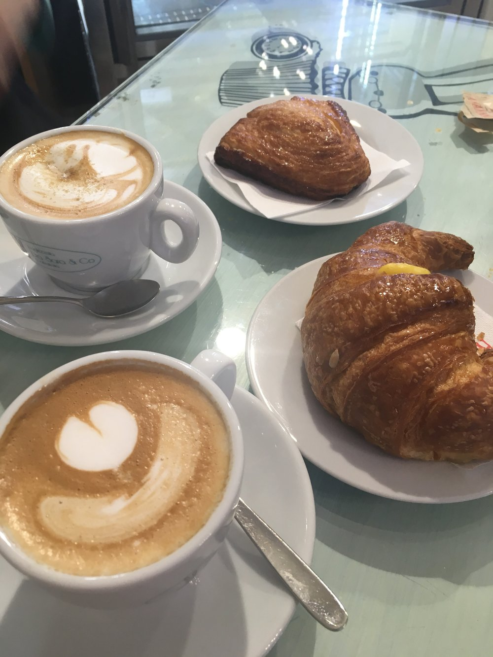 A morning cappuccino and a pastry - breakfast Italian style