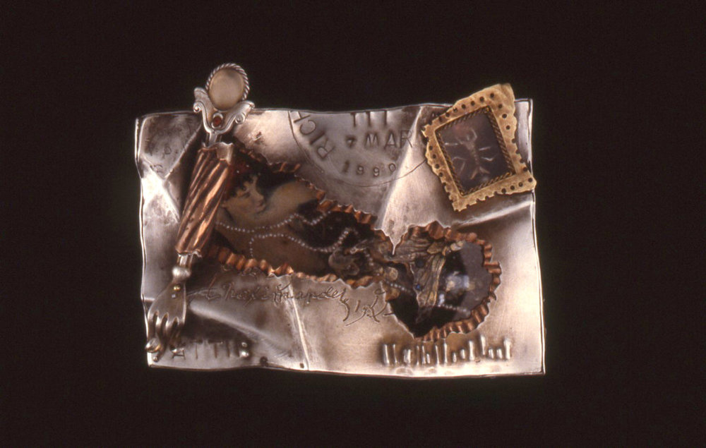 "The Letter 1990 mixed-media brooch #1541 3.5"" x 2.5"" x .75"" private collection"