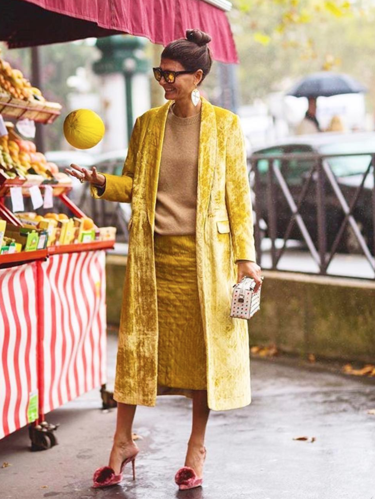 View photo source.     Color pick of 2017: mustard yellow! How beautiful is this golden hue with a muted red slipper heel? This look is a great example of kicking up classic pieces with fun colors.