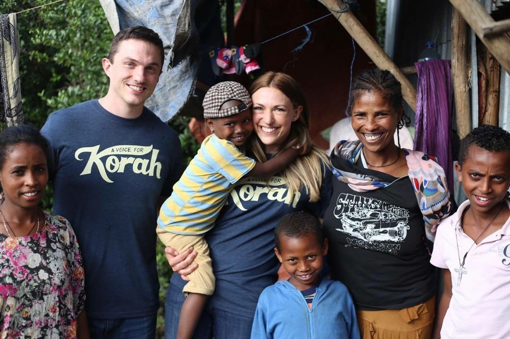 Stephanie and Andy on their first trip to Kore, Ethiopia in 2016 with Bizunesh and her children . Bizunesh is a graduate of I Pour Life's GWE program, and she and Stephanie remain close friends to this day.