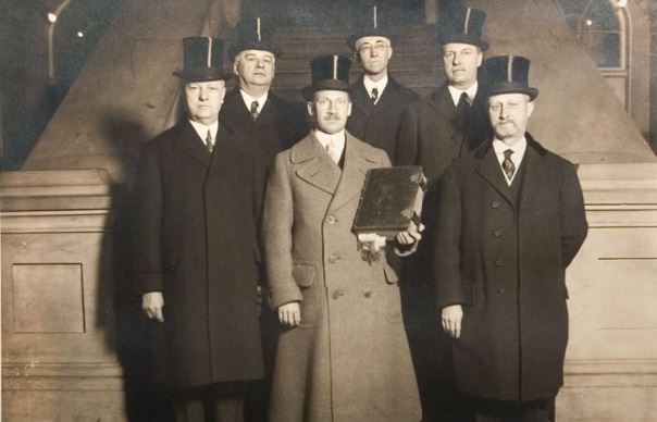 Members of the George Washington Inaugural Bible Committee from St. John's Lodge No. 1 AYM shortly after the swearing in of President Warren Harding.