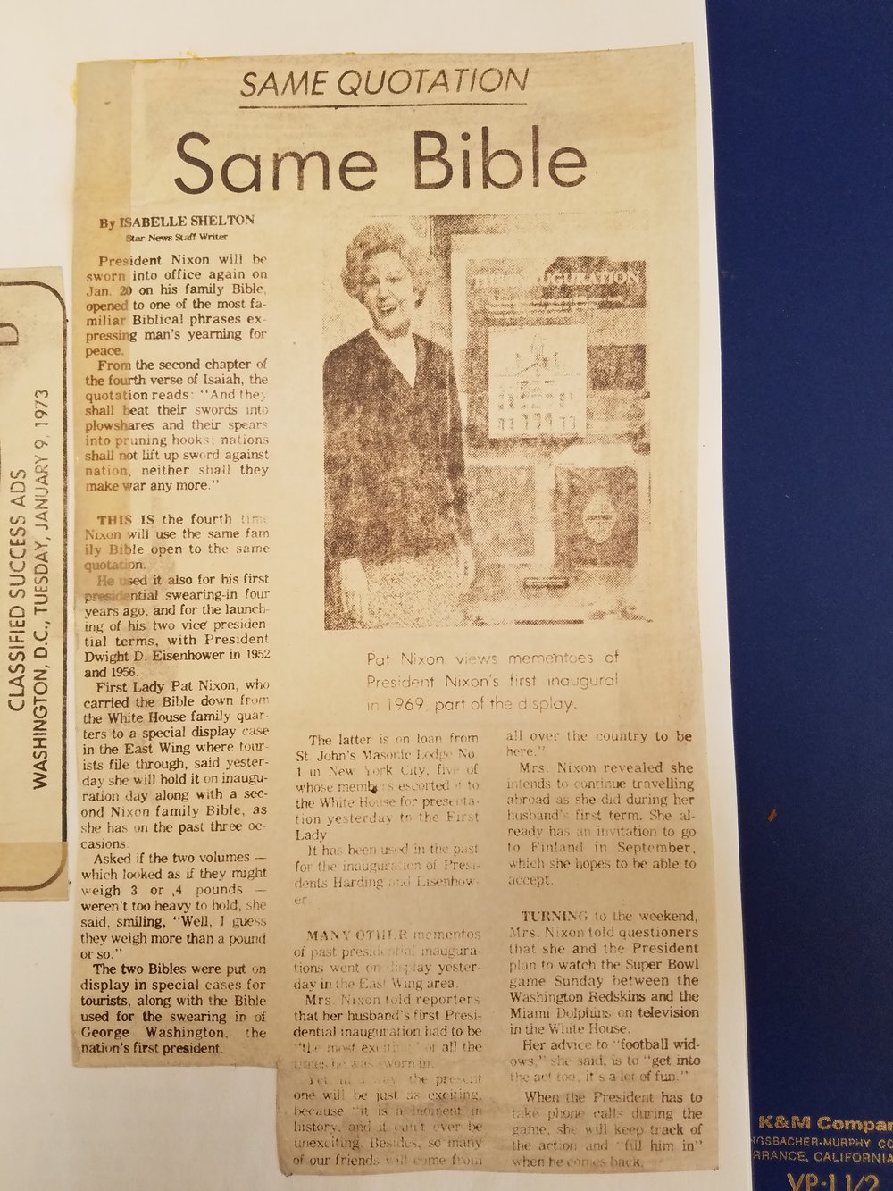 Star-News 1973 Article on the GWIB at the White House