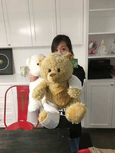 "THEY SAID THIS ONE IS THE ""GET WELL SOON"" BEAR + THE OTHER ONE IS WHEN I'M ALL BETTER ;)."