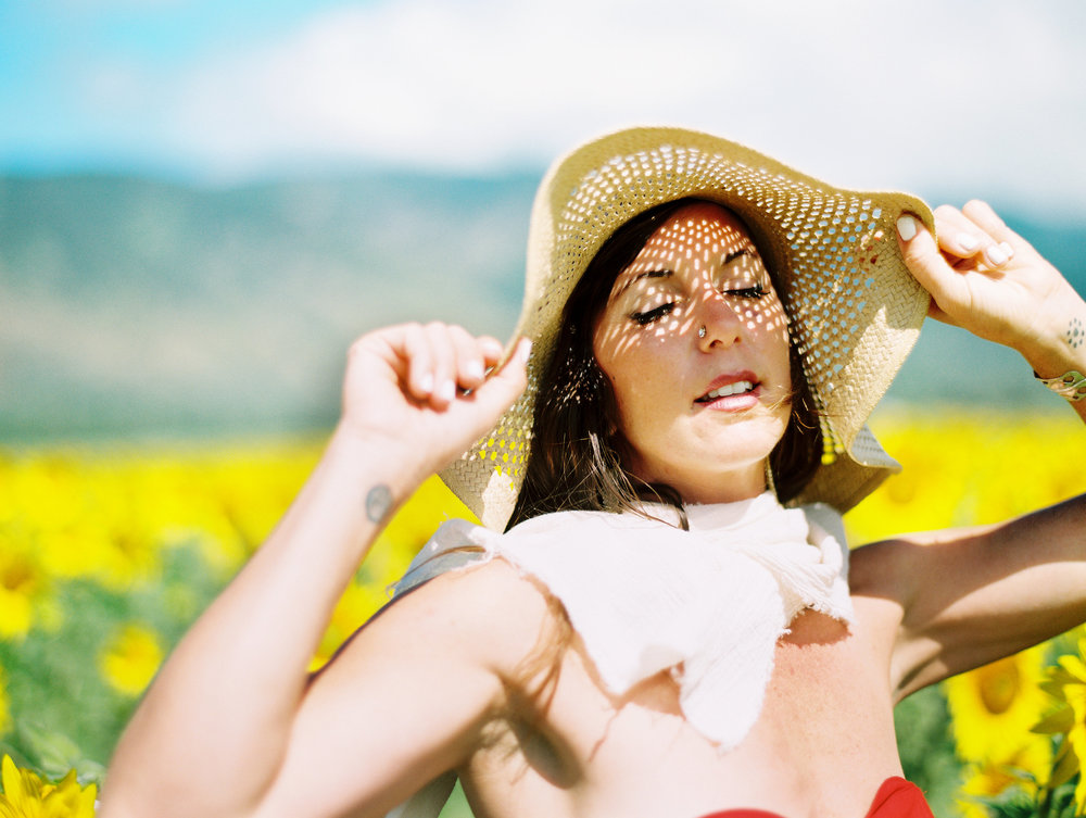 maui-sunflowers-girl-sunhat-red-dress-self-love-session