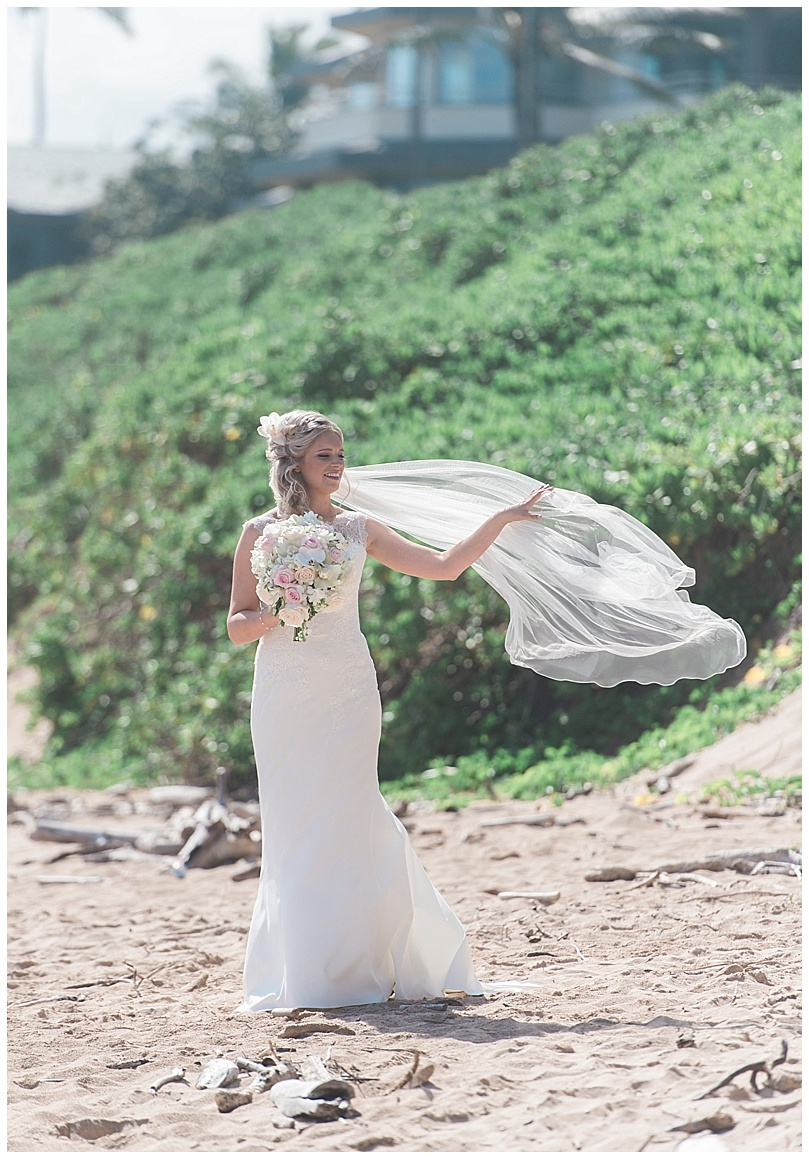 ironwoods-beach-elopement-maui-bride-veil-blowing