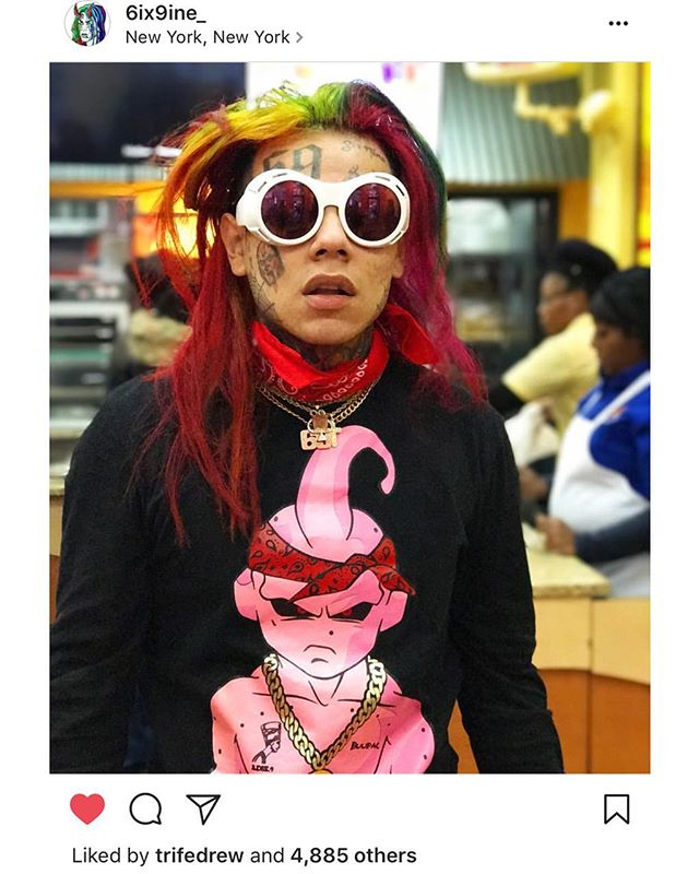 S/O @6ix9ine_ for faithfully rocking the #Buupac tee. Buy NOW at www.GodBlissAmerica.com