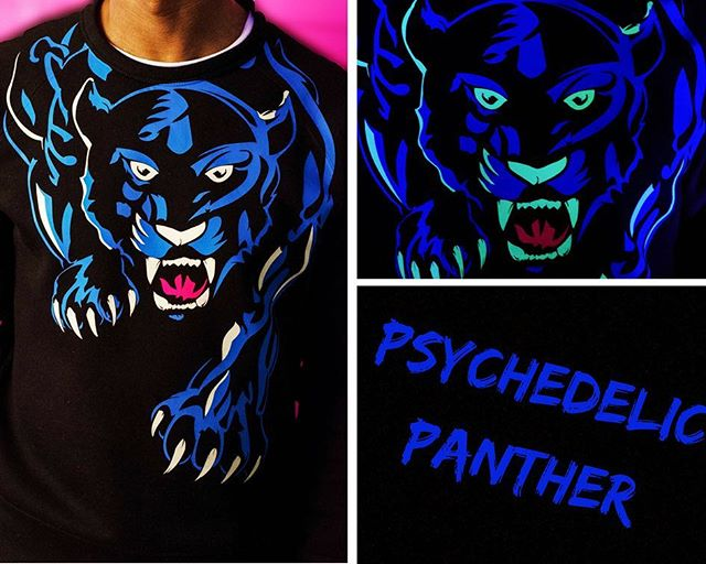 Limited-edition Ultraviolet Psychedelic Panther T-Shirt with glow-in-the-dark detailing. Quantity: 21 🗣DM for prices serious inquiries  #art #fashion #photography #clothing #fashionblogger #skateboard #quality #detail #nationalgoskateday #screenprinting #tattoo #model