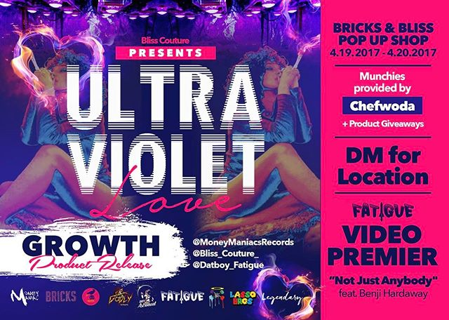 """#420Freesmoke 🍁 Dropping this Wednesday Bliss Co. gives you their trippy limited addition """"Ultraviolet love"""" capsule collection. Special appearance by Indie Rapper @datboi_fatigue will be making a guest appearance to showcase his new release visual """"Not just anybody feat @BenjiHardaway_574. Munchies provided by celebrity @chefwoda and Photography by @lassobros this is a private event DM for further details were live at 10:00pm-4:20am. This is a stoner friendly event. #stoners #420 #smokesumthin #smokersclub #smokersworldwide #420Freesmoke #stonercommunity #atl #atlantastoners  #atlanta  @_bliss_couture_ @legendaryrudiment @lassobros @dariusthegreatxii @datboy_fatigue @_stedmonplayer @livinglegend_domo @quitefrankly @marz089 @theexclusivegod @sonnymartell2ms @moneymaniacrecords @cre8beatz @str8fx"""