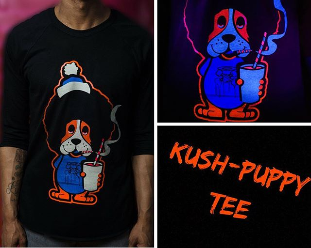 Limited-edition Ultraviolet Kush-Puppy T-Shirt with glow-in-the-dark detailing. Quantity: 21 🗣DM for prices serious inquiries  #art #fashion #photography #clothing #fashionblogger #skateboard #quality #detail #nationalgoskateday #screenprinting #tattoo #model