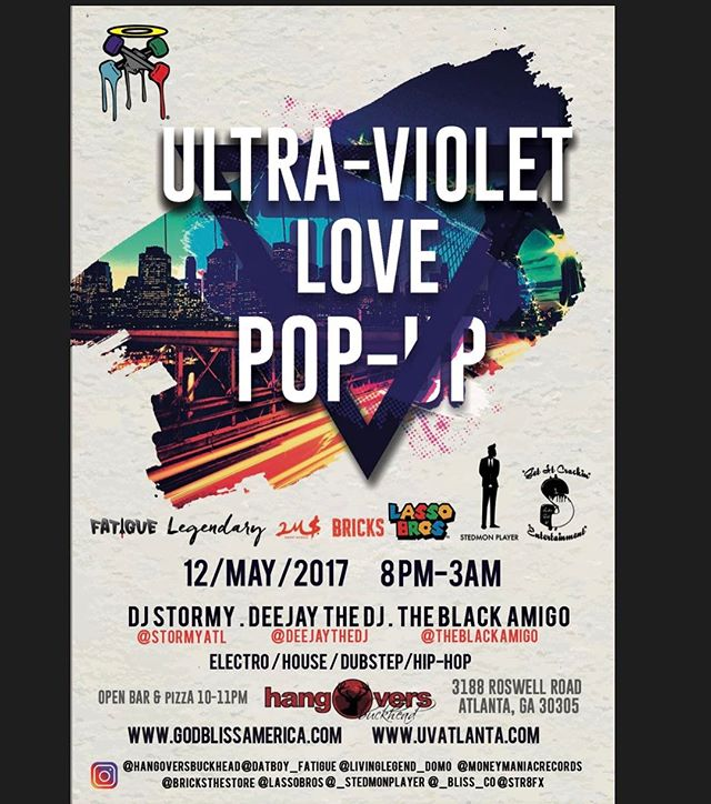 Spreading the love and buying the bottles BSC will be Illuminating the city with the Ultra Violet Love Glow Party Pop-Up Shop 🎟 Friday May 12, 2017 8:00pm-3:00am @ Hangovers Bar in Buckhead. Open bar & Free Food from 10:00pm-11:00pm. 🎼Vibes by @DjStormy @deejaythedj @theblackamigo. Get your tickets and official Merchandise at WWW.UVATLANTA.COM  @_bliss_co @bricks  @hangoversbuckhead  @legendaryrudiment @lassobros @Lassobros_ @dariusthegreatxii @datboy_fatigue @_stedmonplayer @livinglegend_domo @quitefrankly @marz089 @sonnymartell2ms @moneymaniacrecords