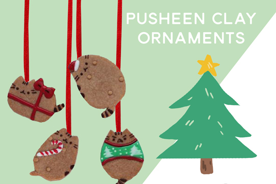 $20  - Come make adorable Pusheen Christmas inspired Ornaments out of clay!