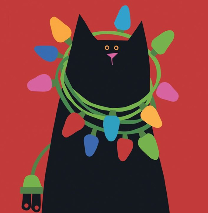 $30 - Come paint this purrfect festive black cat who seems to have gotten into the Christmas lights.