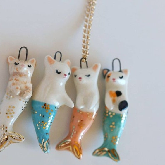 $20 - Come make adorable cat mermaid necklaces out of clay!