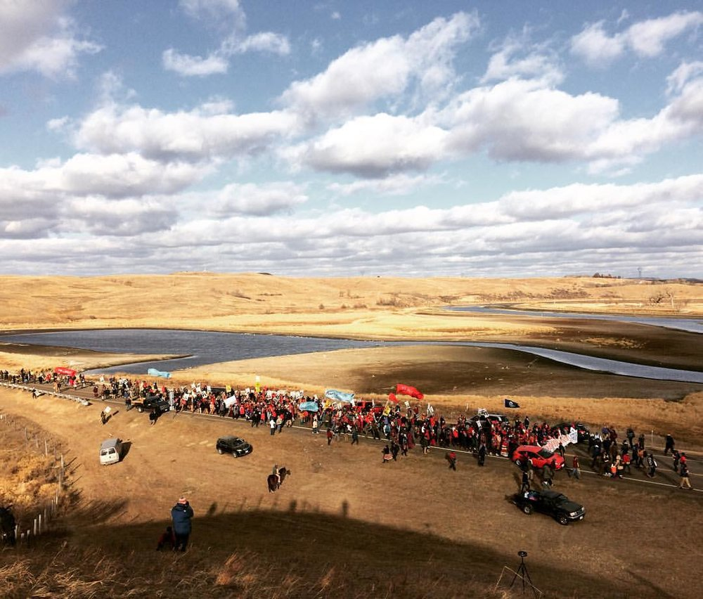 Water Protectors march in prayer.Standing Rock, ND