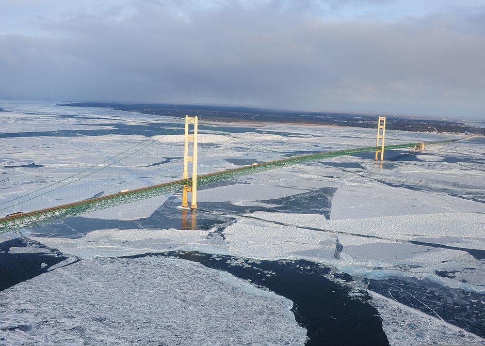 Ice forms in the Straits of Mackinac, underneath the Mackinac Bridge. Photo Credit: PA3 George Degener