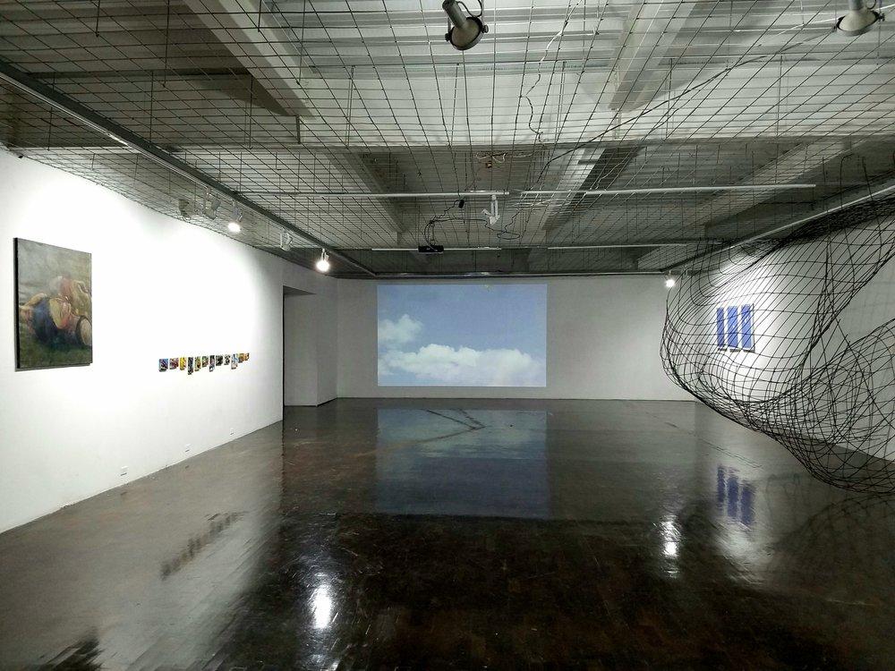La exposición Caída Libre en la Alianza Francesa, Ciudad Guatemala, Julio 2017.