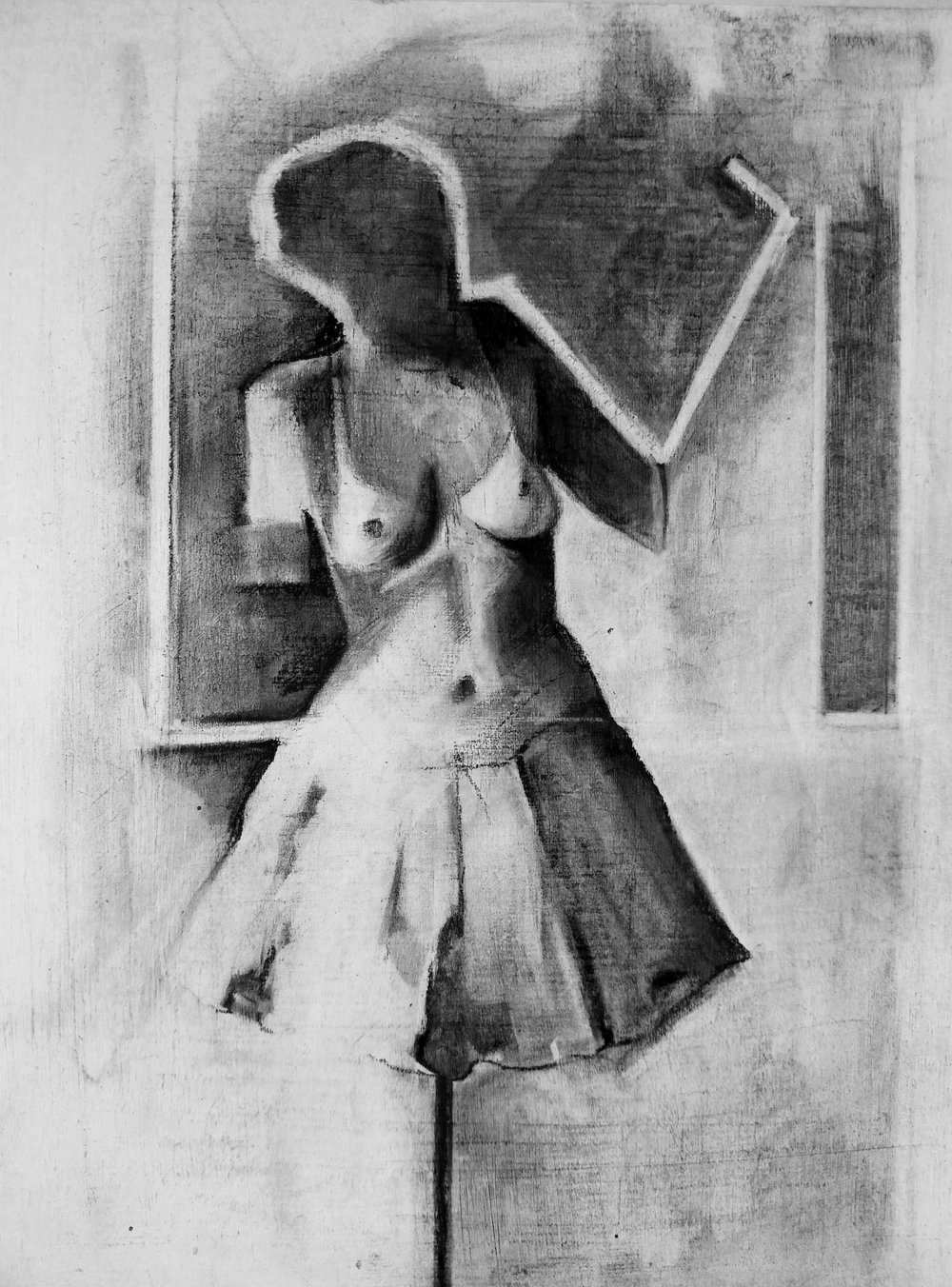 Nude Study 1    Charcoal on Gessoed Wood Panel  2016 9in x 7in