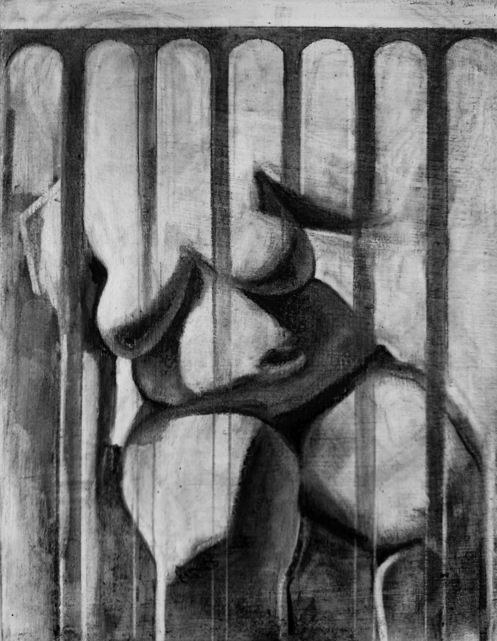 Nude Study 3    Charcoal on Gessoed Wood Panel  2016 7in x 9in