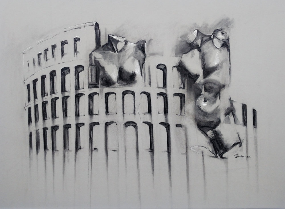 Colosseum   Charcoal on Toned Paper  2016 22inx30in