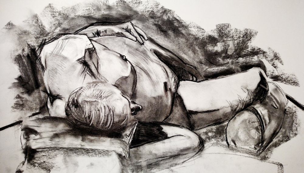 In-Class Direct Observational Study of Nude Model  Charcoal 2015
