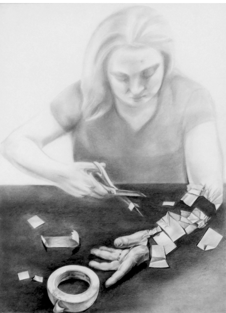 Figure Drawing II  Hands As Self Portrait  Graphite  2012