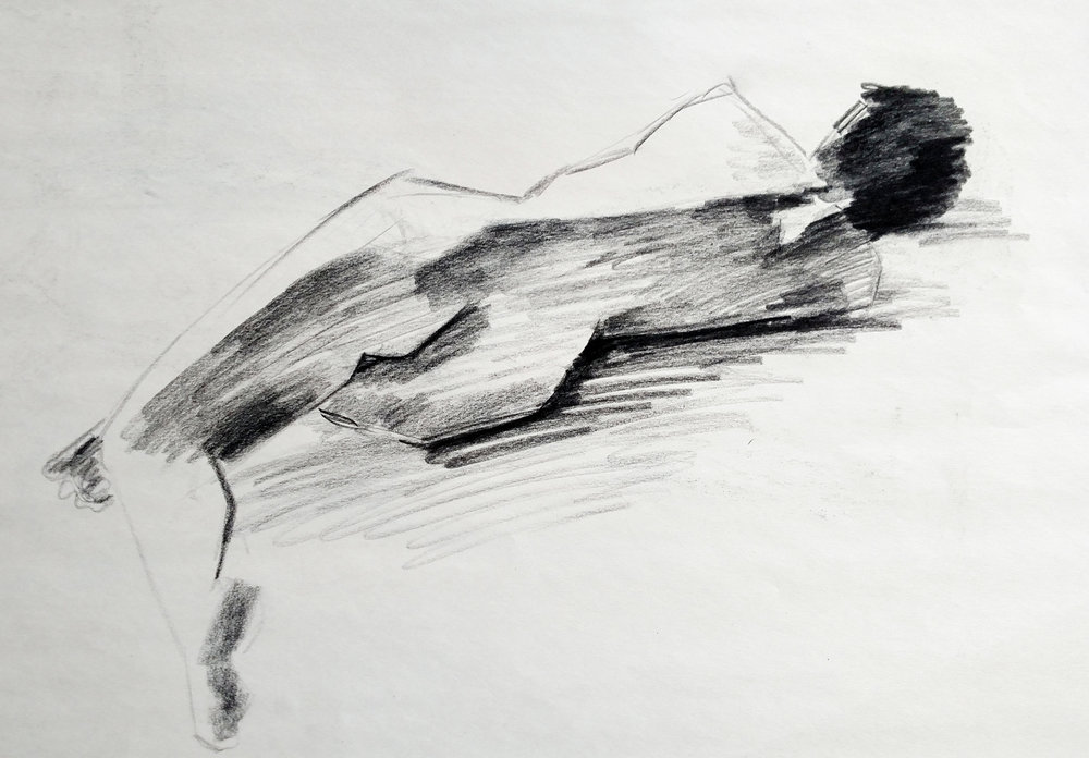 Sustained Gesture Drawing  Conte Crayon 2015