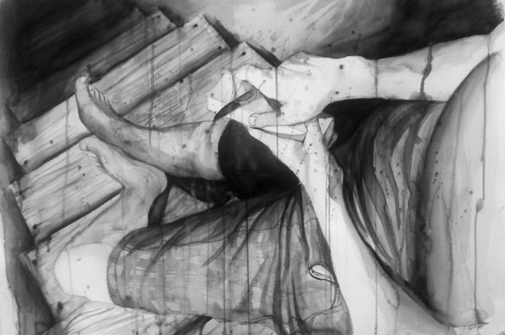 Severe Foreshortening Assignment  Ink Wash and Ink Pen  2013