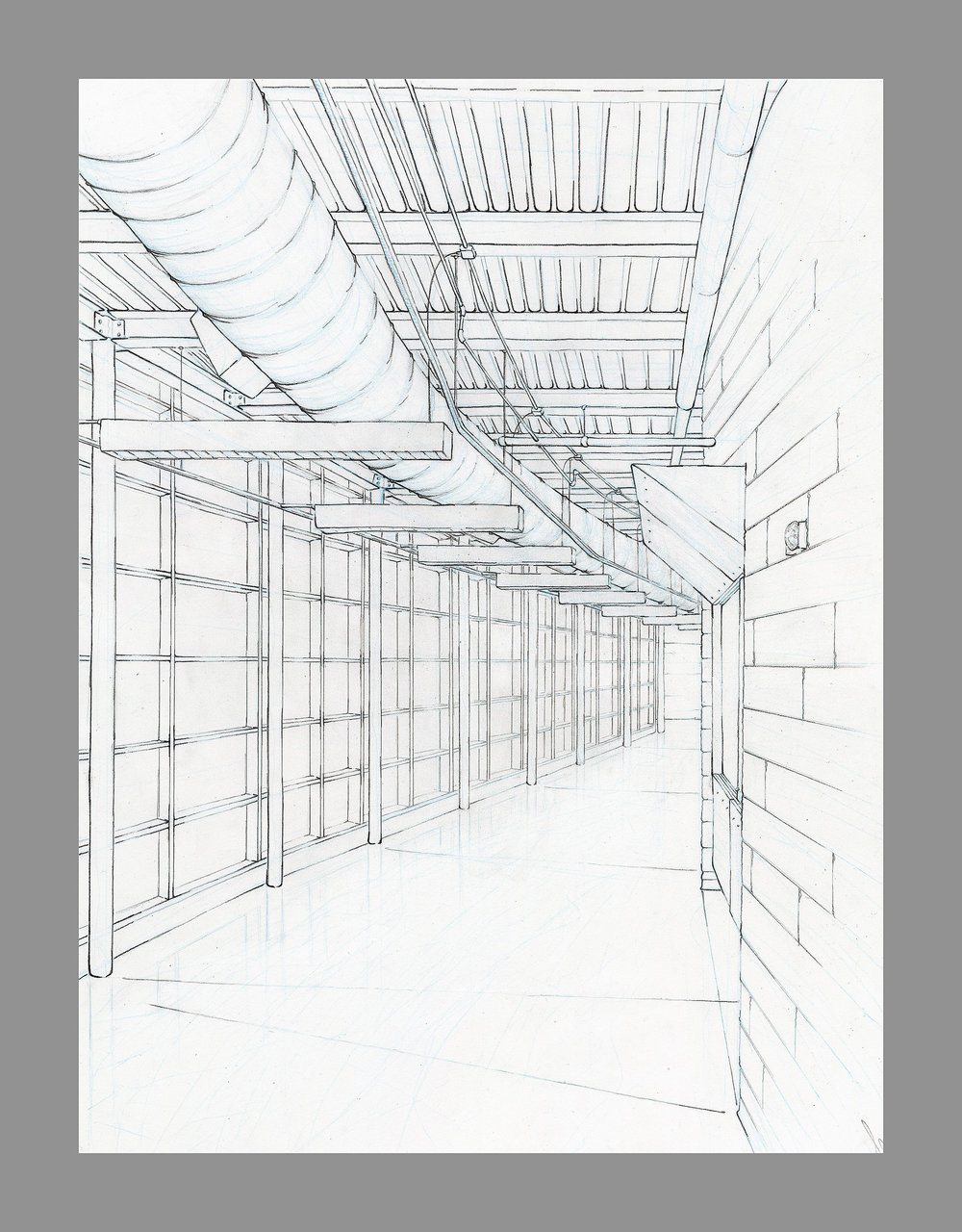 Drawing 1  Direct Observational Two-Point Perspective    Graphite and Blue Drafting Pencil 2015