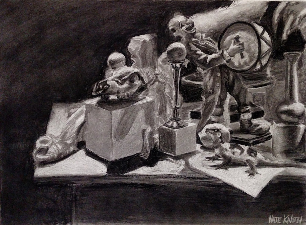 Drawing I  Direct Observational In-Class Still Life (3 Sessions)  Subtractive/Additive Charcoal  2016