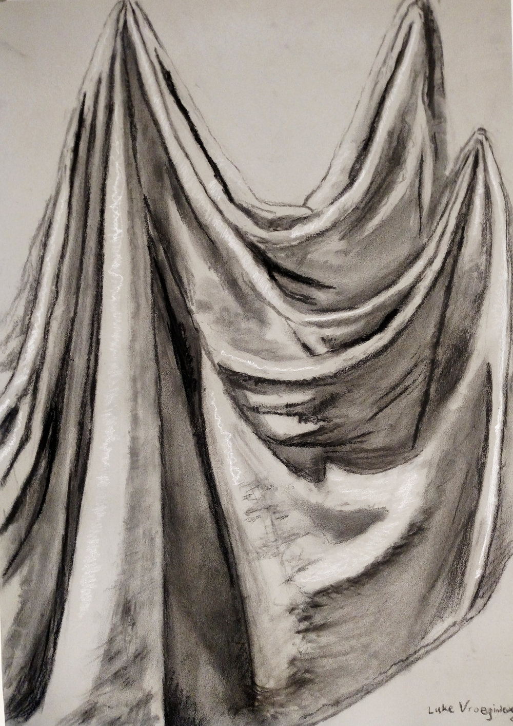 Drawing Fundamentals (General Education Non-Art Major)  Direct Observational Drapery Study    Charcoal on Toned Paper  2016