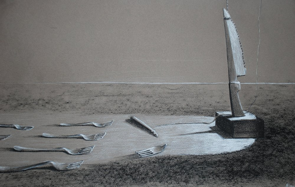 Drawing II  Form and Content  Charcoal on Toned Paper  2011