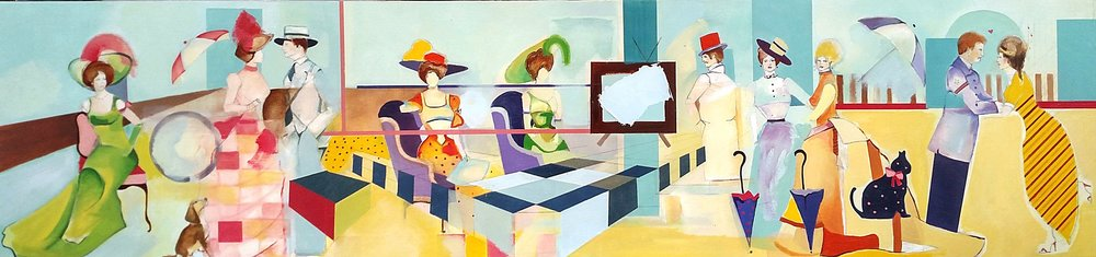Sunday Afternoon 3 o'clock    Oil Paint on Wood Panel  12in x 48in  2012
