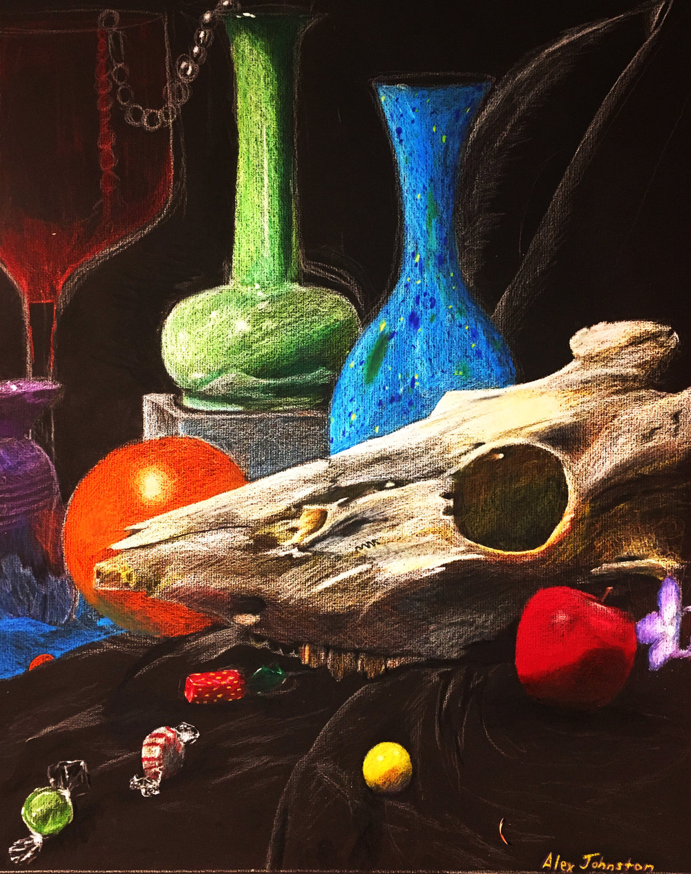 Drawing Fundamentals (General Education Non-Art Major)  Direct Observational In-Class Still Life Drawing  Colored Pencil on Black Paper  2017