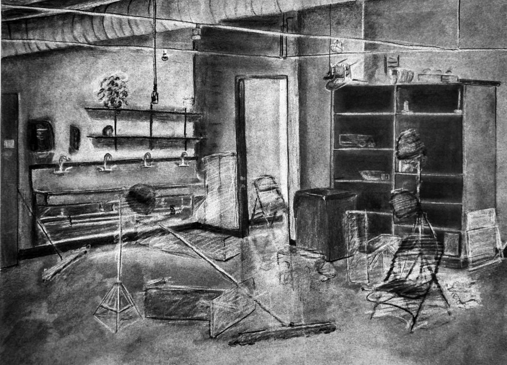 Direct Observational 2 Point Perspective Drawing  Inspired by the work of WIlliam Kentridge  Subtractive/Additive Charcoal 2016