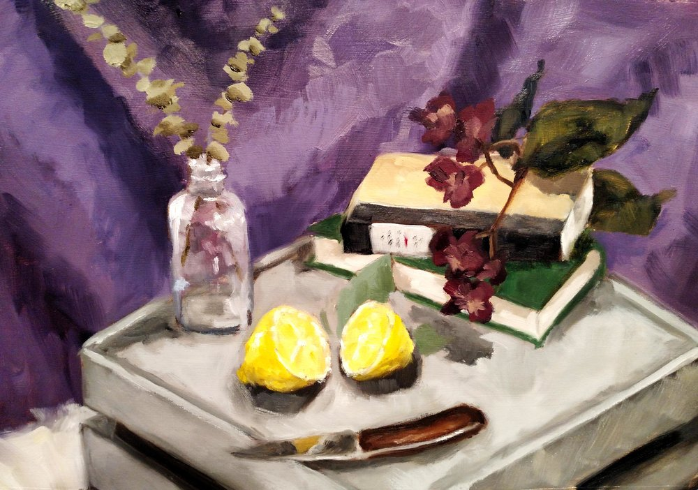 Introduction to Painting  Full Palette Direct Observational Still Life Painting  Oil Paint on Gessoed Paper 2017