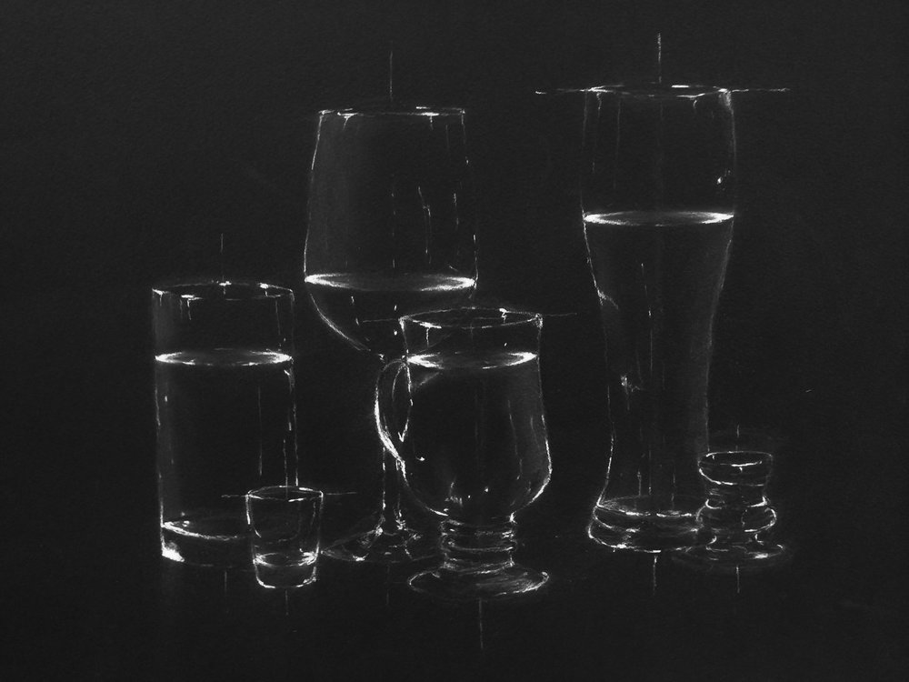 Drawing Fundamentals (General Education/Non-Art Major)  Direct Observational In-Class Still Life  White Charcoal on Black Paper  2017