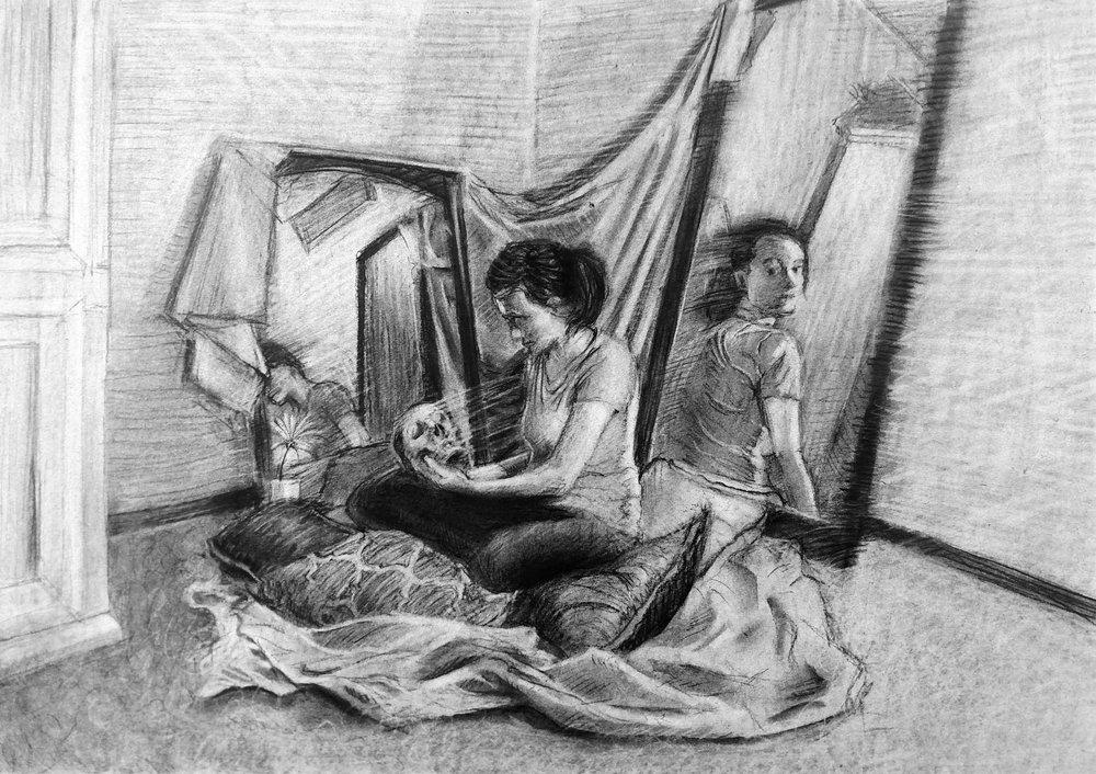 Life Drawing  Multiple Figure Narrative  Charcoal  2017